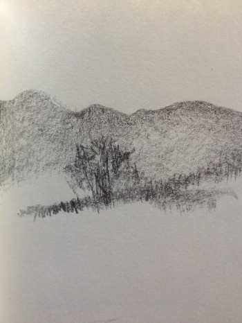 welsh hill pencil sketch