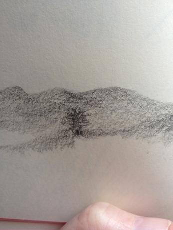welsh hill pencil sketch
